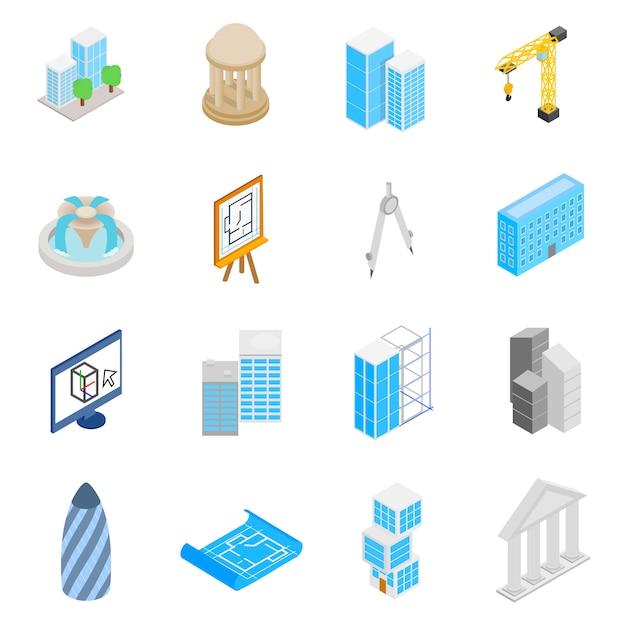 Architecture icons set Premium Vector