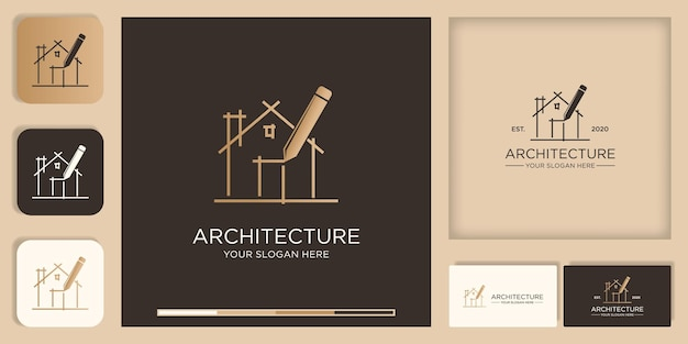 Architecture inspiration logo design, sketch draw with pen, and business card design Premium Vector