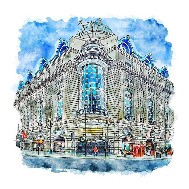 Архитектура лондон соединенное королевство акварельный эскиз рисованной иллюстрации Premium векторы