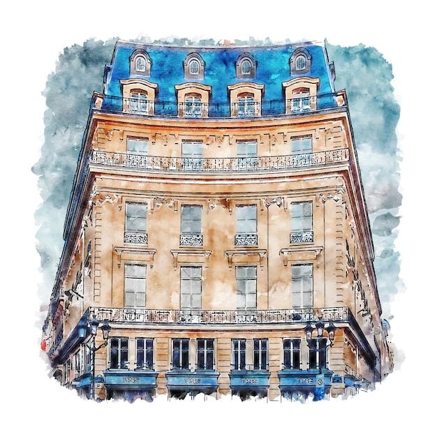 Архитектура париж франция акварельный эскиз рисованной иллюстрации Premium векторы