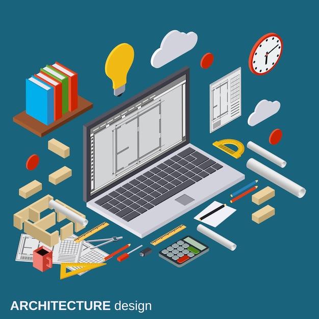 Планирование архитектуры, проект интерьера, рабочее место архитектора, компьютерный дизайн плоские 3d изометрические иллюстрации. современная веб-графическая концепция Premium векторы