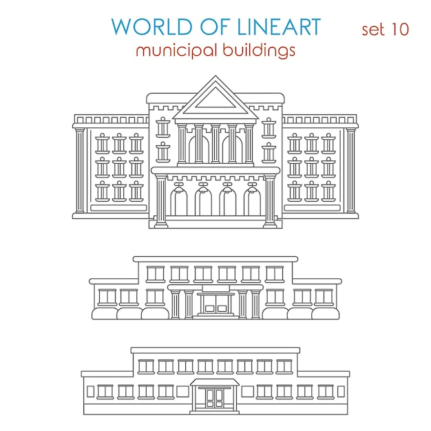 Architecture public municipal government school university college library police station hospital building al line art style  set. Free Vector
