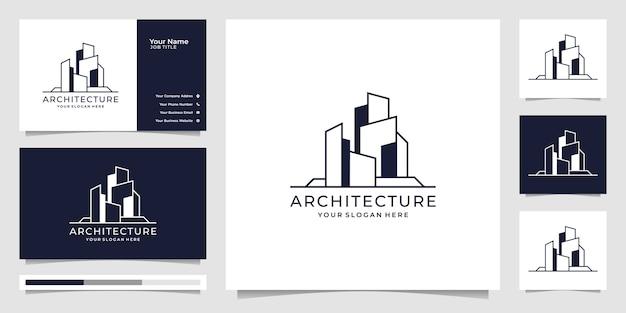 건축 템플릿, 부동산 로고 디자인 기호 및 명함. 프리미엄 벡터