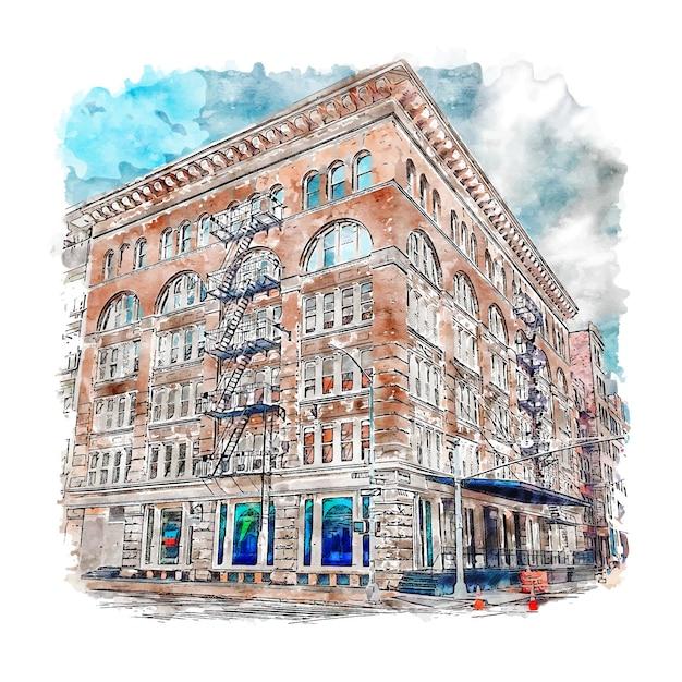 건축 Tribeca 뉴욕시 수채화 스케치 손으로 그린 그림 프리미엄 벡터
