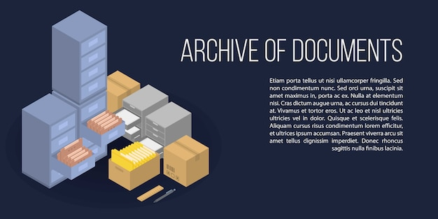 Archive of documents concept banner, isometric style Premium Vector