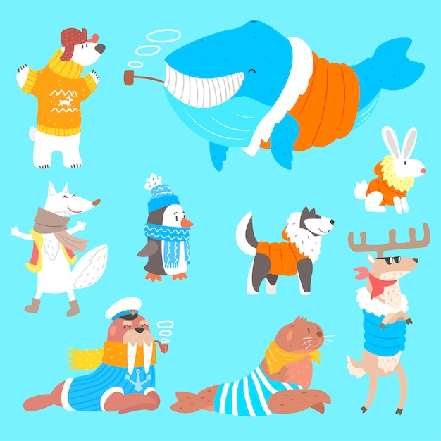 Arctic animals dressed in human clothes set of illustrations Premium Vector