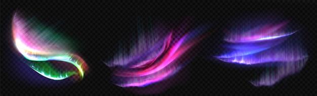 Северное полярное сияние, полярные сияния, северные природные явления изолированы. удивительная переливающаяся светящаяся волнистая подсветка на ночном небе, сияющая. реалистичные 3d векторная иллюстрация, набор Бесплатные векторы