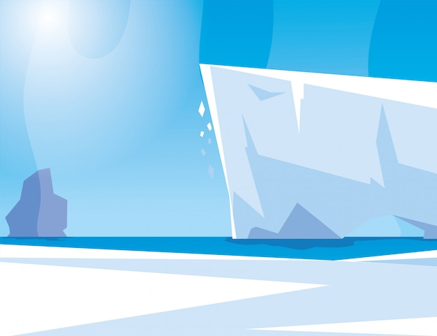 Arctic landscape with blue sky and iceberg, north pole Premium Vector