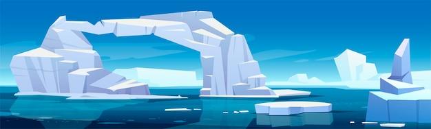 Paesaggio artico con scioglimento degli iceberg e ghiacciai galleggianti nel mare. concetto di allerta globale e cambiamento climatico. fumetto illustrazione di ghiaccio polare o antartico nell'acqua blu dell'oceano Vettore gratuito