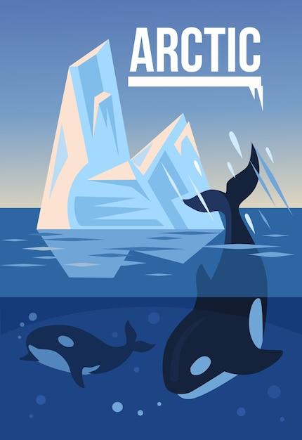Арктическая природа. иллюстрация Premium векторы