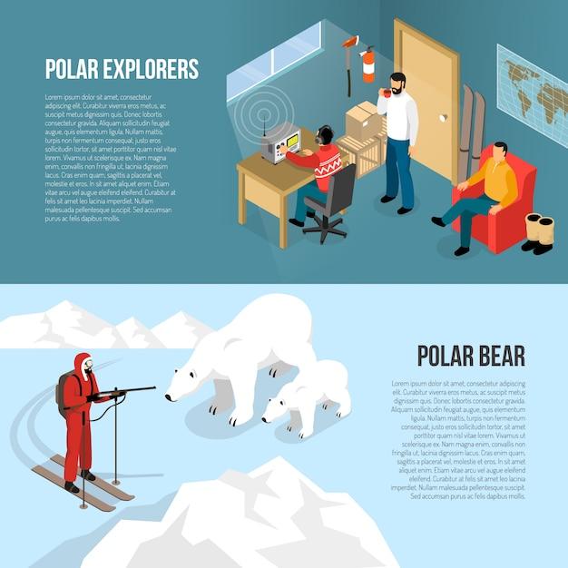 Arctic polar exploration isometric banners Free Vector