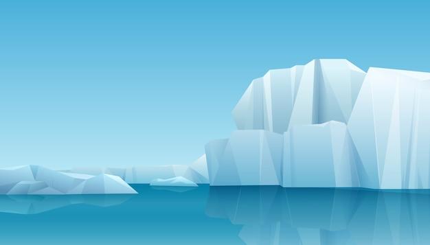Арктический зимний пейзаж панорамы с айсбергом и ледяными горами. холодный климат зимний фон Premium векторы