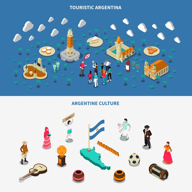 Argentina 2 isometric touristic attractions banners Free Vector