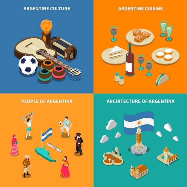 Argentina 4 touristic isometric icons square Free Vector