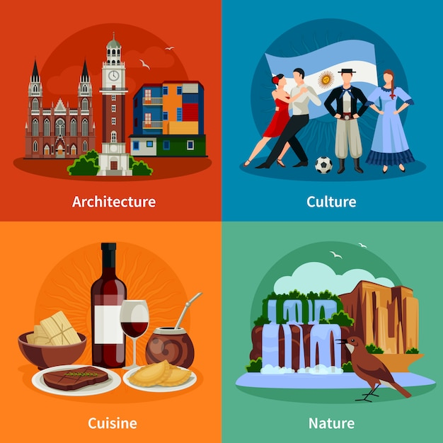 Argentina attractions flat icons square Premium Vector