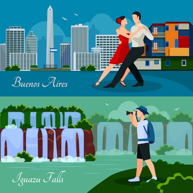 Argentina culture landmarks and nature 2 flat horizontal banners Free Vector