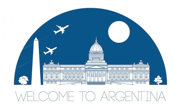 Argentina famous landmark silhouette Premium Vector