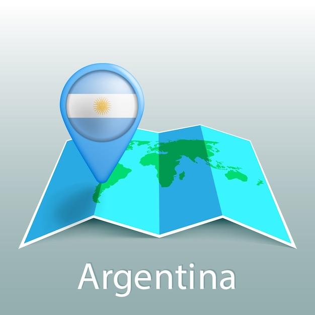 灰色の背景に国の名前とピンでアルゼンチンの旗の世界地図 Premiumベクター