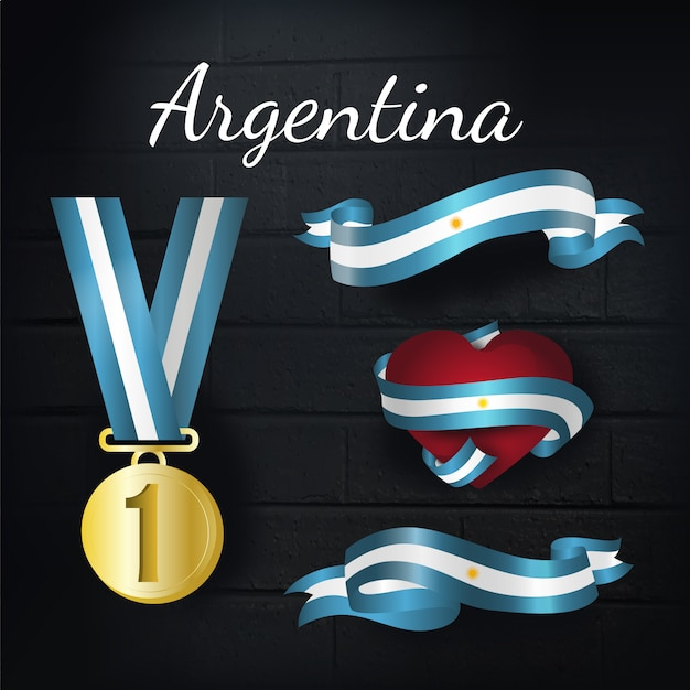 Argentina gold medal and ribbons collection Free Vector