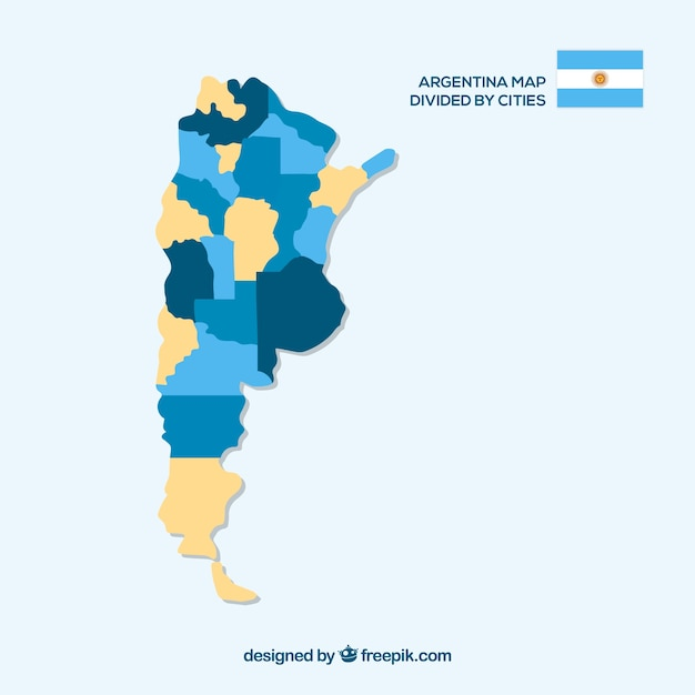 Argentina map divided by cities Vector | Free Download