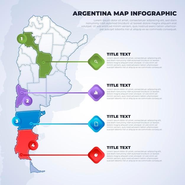 Argentina mappa infografica Vettore gratuito