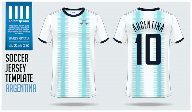 Argentina soccer jersey mockup or football kit template. Premium Vector