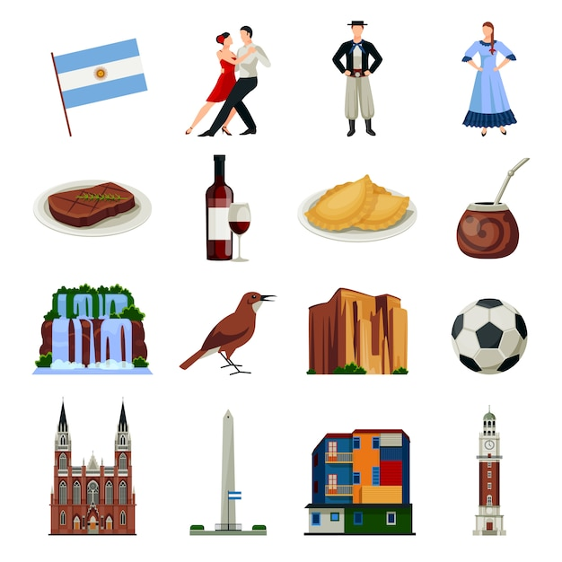 Argentina symbols flat icons collection Free Vector
