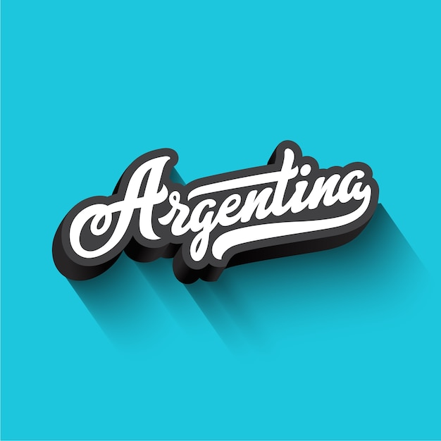 Argentina text calligraphy vintage retro lettering  . Free Vector