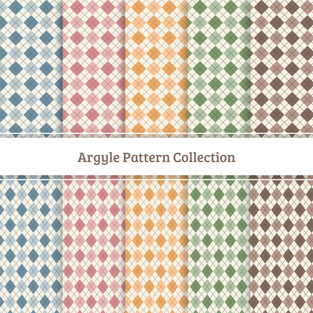 Argyle pattern collection Premium Vector