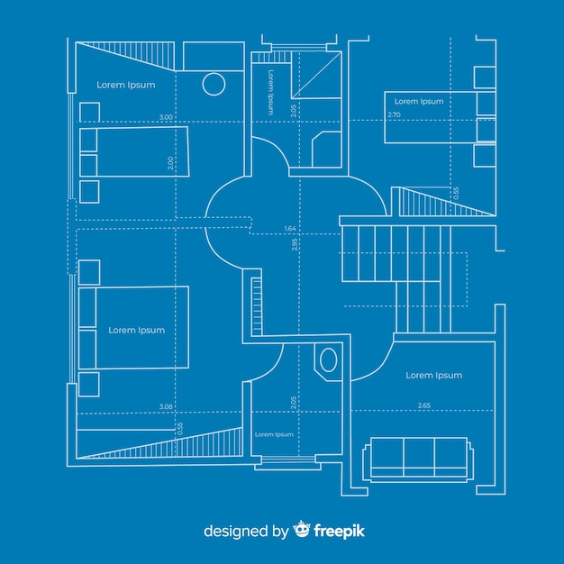 Arhitectural construction plan of blueprint house Free Vector