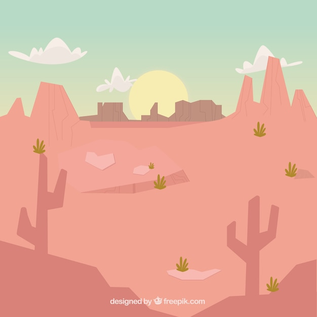 Arid landscape background at sunset Free Vector