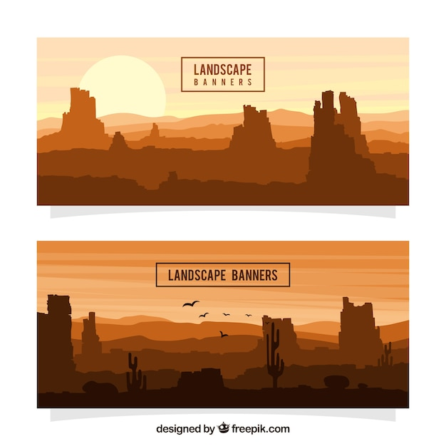 Arid landscape banners Free Vector