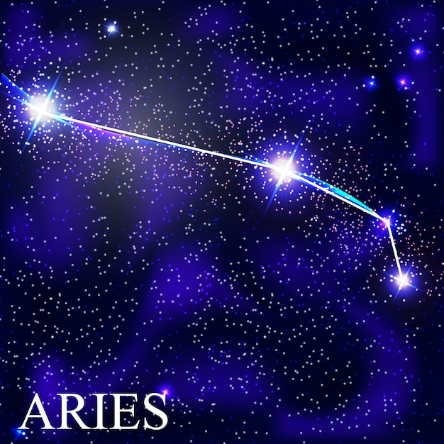 Aries zodiac sign with beautiful bright stars on the background of cosmic sky  illustration Premium Vector