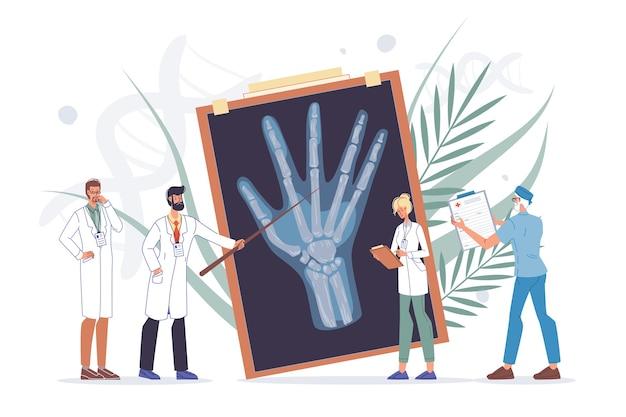 Arm hand examination. wrist trauma or arthritis diagnosis, treatment. doctor, nurse team examine x-ray image scan. medical consultation. orthopedics, traumatology and rheumatology medicine. Premium Vector