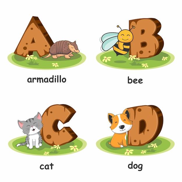 Armadillo bee cat dog wooden alphabet animals Premium Vector