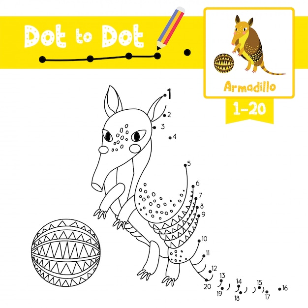 Armadillo with ball dot to dot game and coloring book Premium Vector