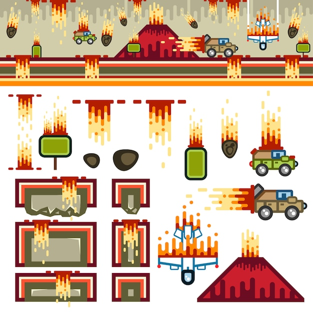 Armageddon flat game level kit Premium Vector