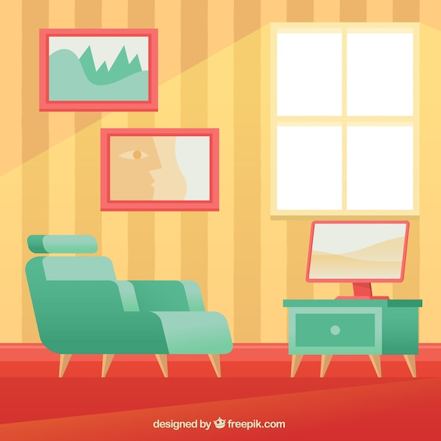 Armchair And Tv In House Interior Free Vector