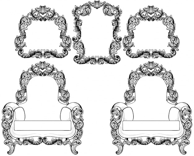 Armchair and vintage frames set collection vector. Baroque furniture ...