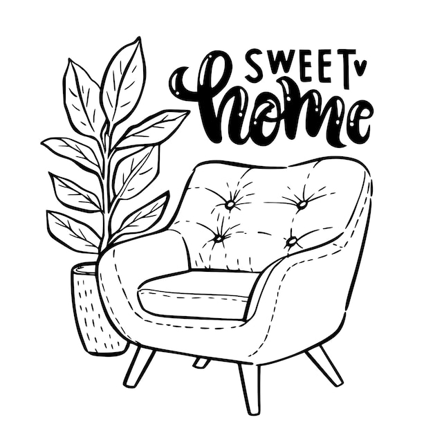 Armchair with a pot of ficus outline doodle illustration. Premium Vector