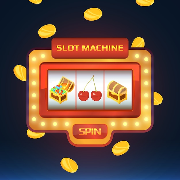 Armed bandit, game machine in casino with different isolated pictures Premium Vector