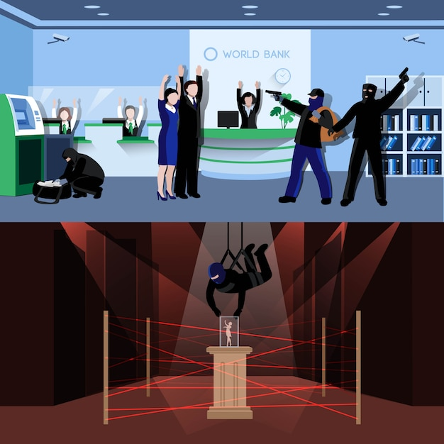 Armed burglars committing theft in bank and museum flat compositions Free Vector