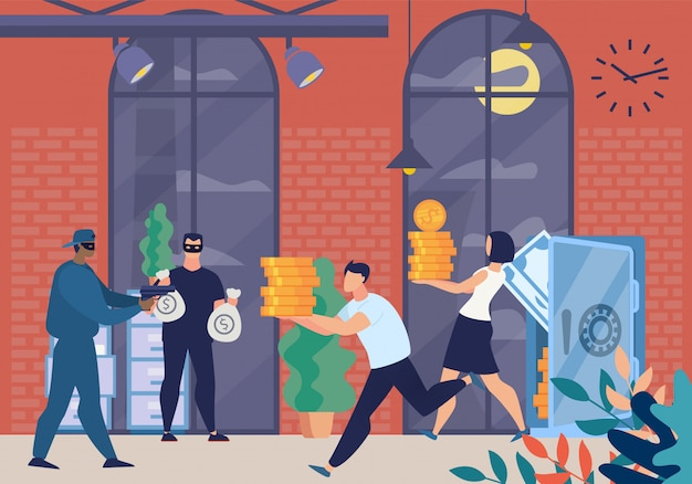 Armed robbers in masks characters forcing bank Premium Vector
