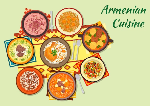 Armenian cuisine clipart with dumpling soup, baked chicken stuffed with rice and dried fruit, beef soup with dried apricot Premium Vector