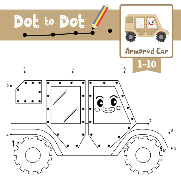 Armored car dot to dot game and coloring book Premium Vector