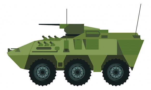 Armored car with a missile and many type of cannon Premium Vector