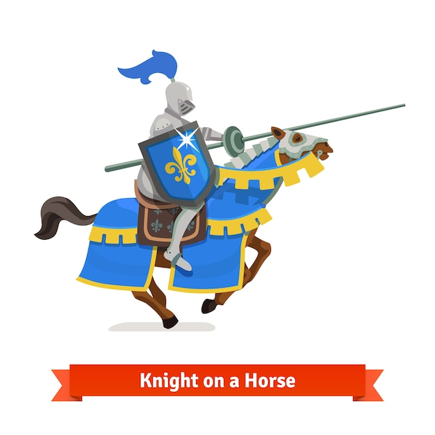 Armoured medieval knight riding on a horse Free Vector