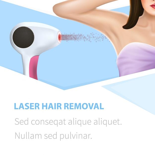 Armpit epilation hair removal square beauty banner template Premium Vector