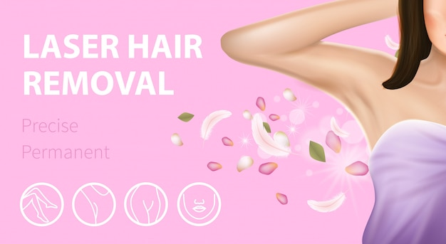 Armpit epilation laser hair removal pink banner Premium Vector