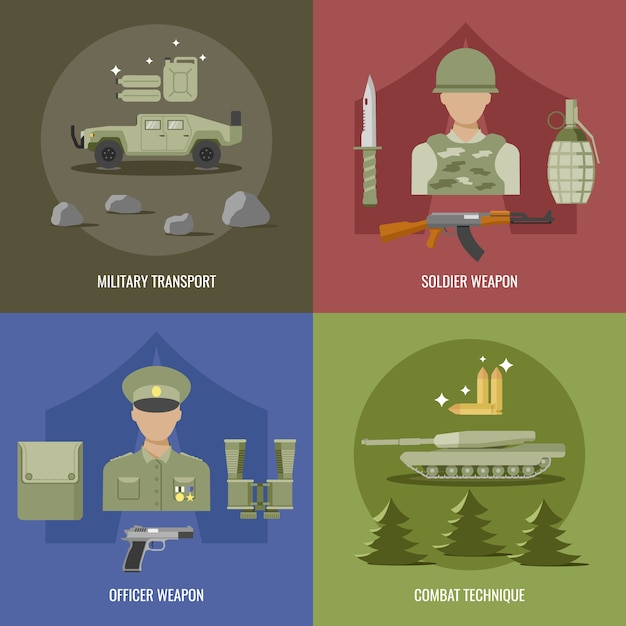 Army flat design with military transport weapon of officer and soldier combat technique isolated vector illustration Premium Vector